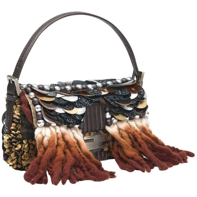 f39d94eb90d0 Piece Unique - Fendi Embroidered Large Sequin Baguette Handbag For Sale