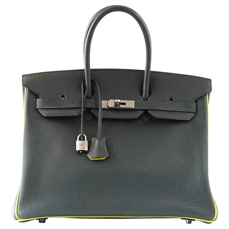 Hermes Birkin 35 Bag Vert Fonce Anis Piping Chartreuse Interior Ruthenium Togo