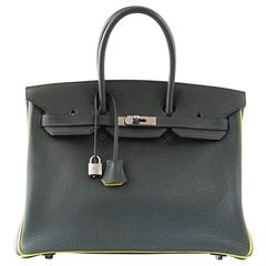 Hermes Birkin 35 Bag Vert Fonce Anis Piping Chartreuse Interior Ruthenium Togo