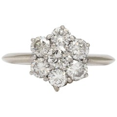 Diamond Platinum and White Gold Floral Ring