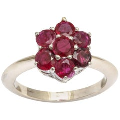 Ruby White Gold and Platinum Flower Ring