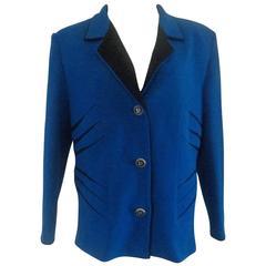 Pierre Cardin Blu and Black Wool Jacket