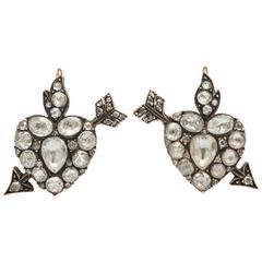 Georgian Rose Diamond Heart Form  Earrings
