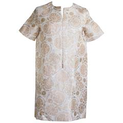 Chloe Dress Gold Metallic on Creme and Nude Pink Light Weight Brocade 34 / 4