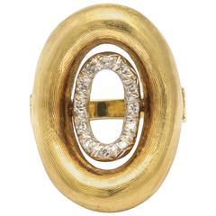 Modernist Design Gold and Diamond Ring