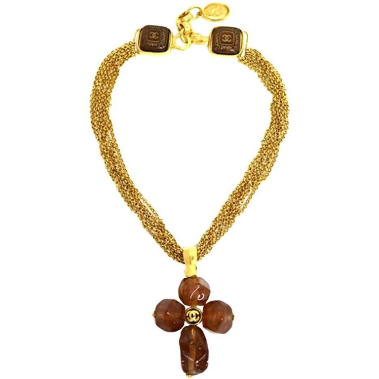 Chanel Vintage Rare Cognac Gripoix Gold Cross Charm Evening Necklace in Box 1