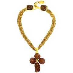 Chanel Vintage Rare Cognac Gripoix Gold Cross Charm Evening Necklace in Box