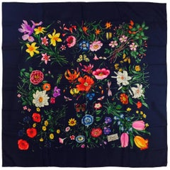 Gucci Navy Silk Twill Scarf With Garden Floral Motif