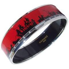 Hermes Printed Enamel Bracelet Les Ponts de Paris Paris's Bridges PHW Size 65