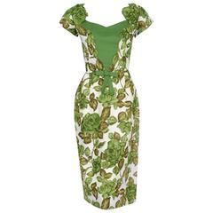 1950's Jeanette Alexander Green-Roses Floral Print Cotton Applique Wiggle Dress