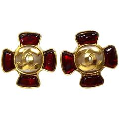 Chanel Vintage Rare Red Gripoix Gold Pearl Evening Charm Earrings