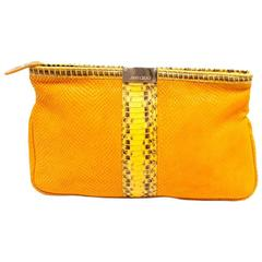 Jimmy Choo Yellow Leather and Snakeskin Clutch