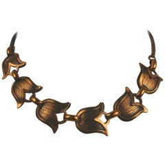 Mid Century Modern Rebajes Modernist Copper Tulip Statement Necklace
