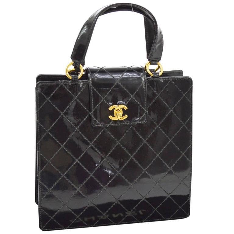 Chanel Vintage Black Patent Leather Top Handle Satchel Kelly Style Evening Bag
