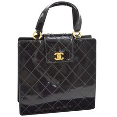 Chanel Vintage Black Patent Leather Top Handle Satchel Kelly Style Evening Bag
