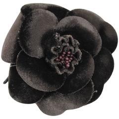 Brown Velvet Vintage Chanel Flower Brooch