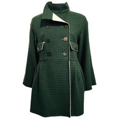 Chanel Forest Green Double-breasted Jacket With White Accents Sz