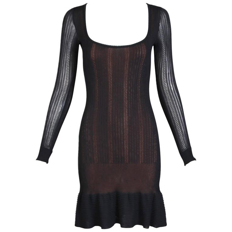 Alaia Black Sheer Stretch Viscose Long Sleeved Mini Dress W/Flounced Hem 1