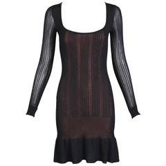 Alaia Black Sheer Stretch Viscose Long Sleeved Mini Dress W/Flounced Hem