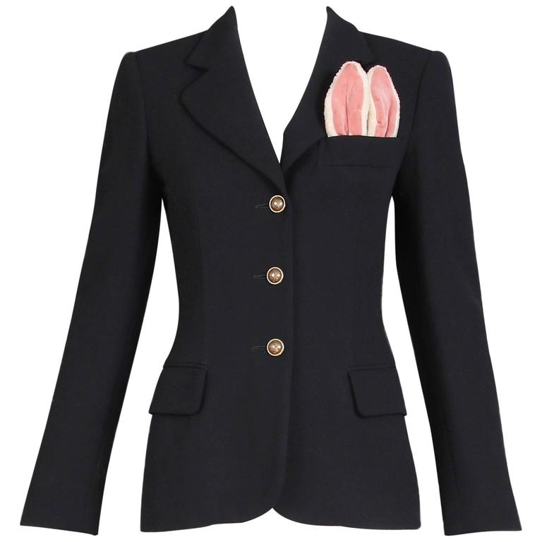 Vintage Moschino Black Wool Blazer Jacket W/Bunny Ears In Top Pocket 1