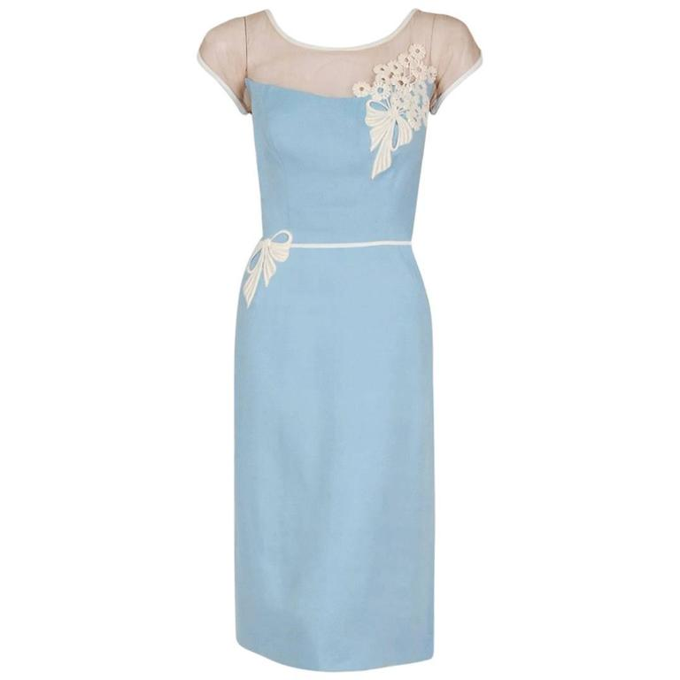 de9e1aab 1950's Peggy Hunt Baby-Blue Linen Applique Illusion Hourglass Cocktail Dress  For Sale