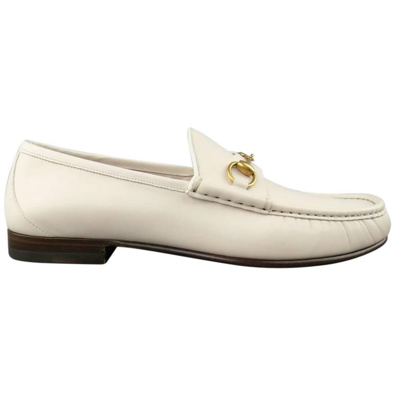 New Men's GUCCI Size 10.5 Off White Leather Gold Horsebit Loafers For Sale