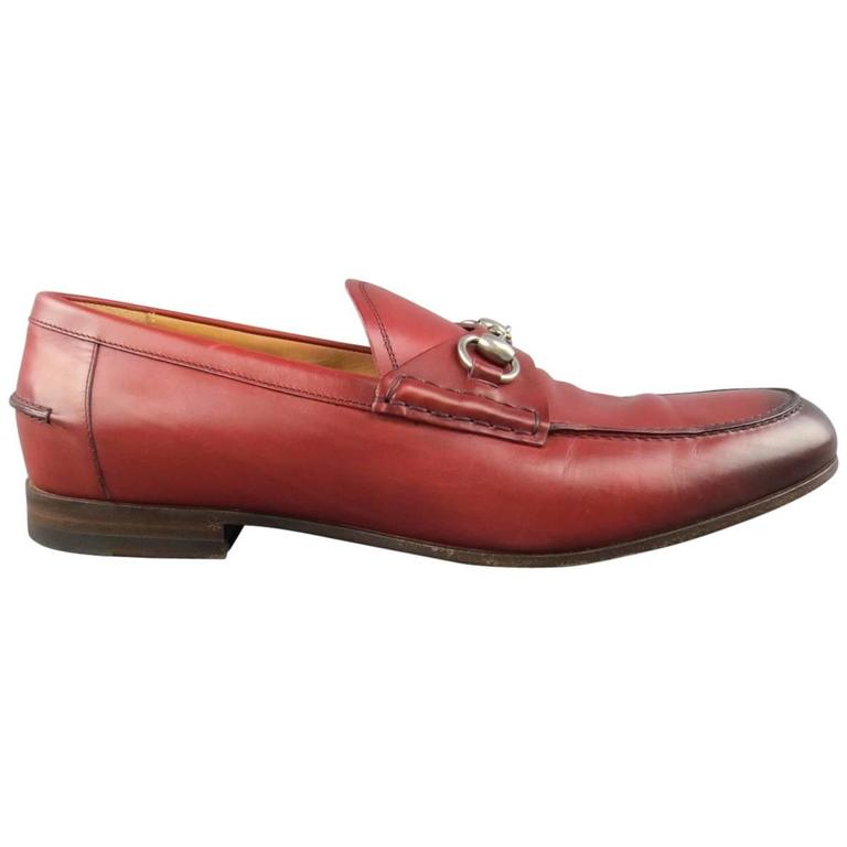 Men's GUCCI Size 10 Brick Red Ombre Leather Silver Horsebit Loafers For Sale