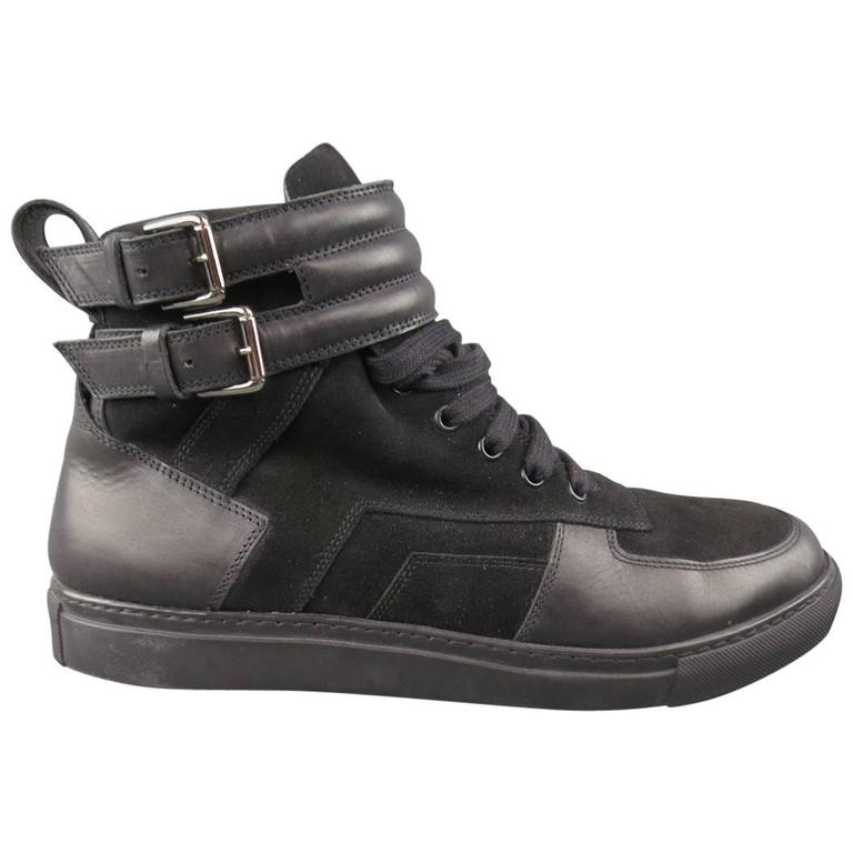 Men's GIVENCHY Size 10.5 Black Leather & Suede Belted High Top Sneakers