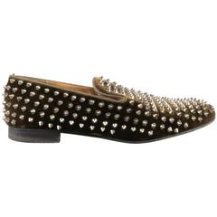Men's CHRISTIAN LOUBOUTIN Size 10 Brown Studded Velvet Rollerboy SpikesLoafers