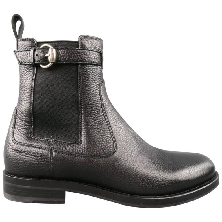 GUCCI Size 10.5 Black Pebbled Leather Royer Ankle Buckle Boots For Sale