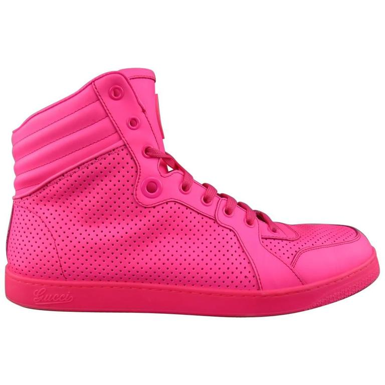 ed12a0ba0 Men's GUCCI Size 11 Neon Pink Perforated Leather High Top CODA Sneakers For  Sale
