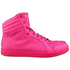 Men's GUCCI Size 11 Neon Pink Perforated Leather High Top CODA Sneakers
