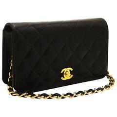 CHANEL Chain Bag 2003 Handbag Clutch Black Quilted Flap Lambskin