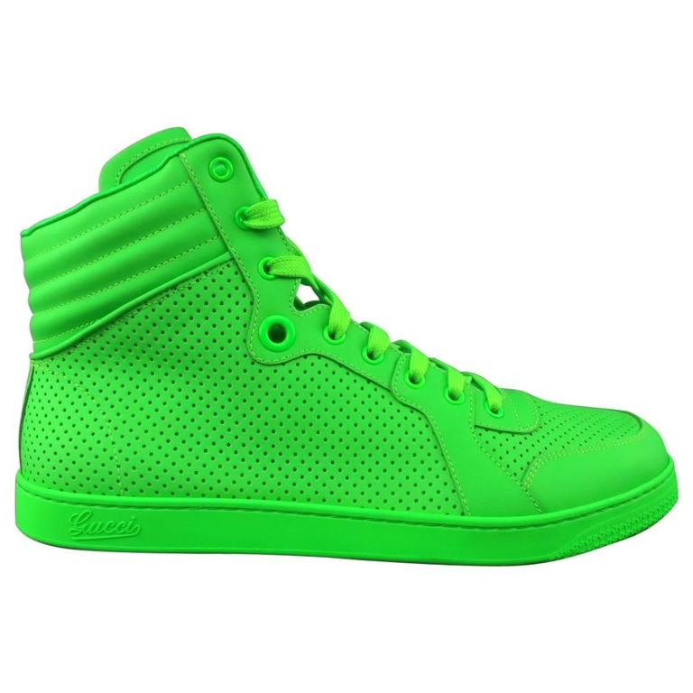 5781e99cd29 Men s GUCCI Size 11 Neon Green Perforated Leather CODA High Top Sneakers  For Sale