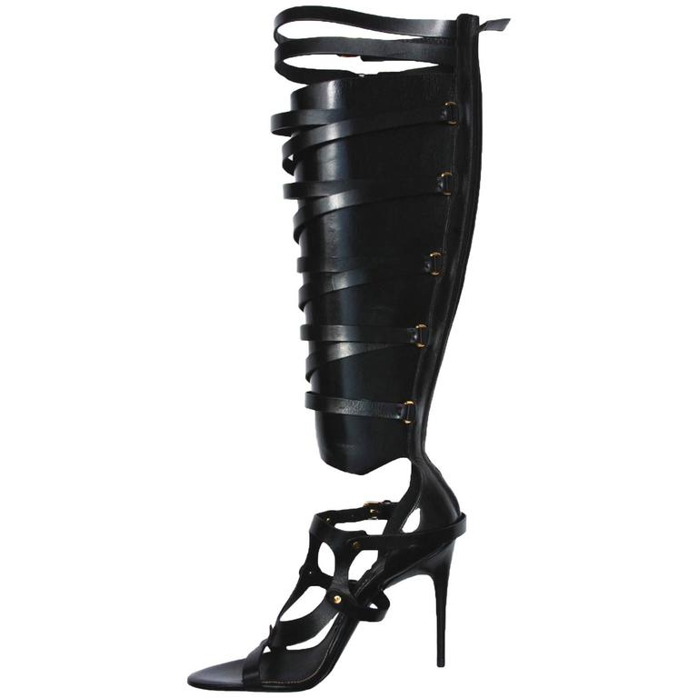 New TOM FORD Black Strappy Buckled Sandal Leather Gladiator Boots It. 39.5