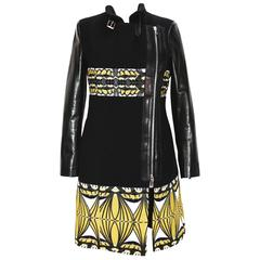 New ETRO Double Zip Fox Collar Leather Sleeve Black Yellow Coat 42 - 6