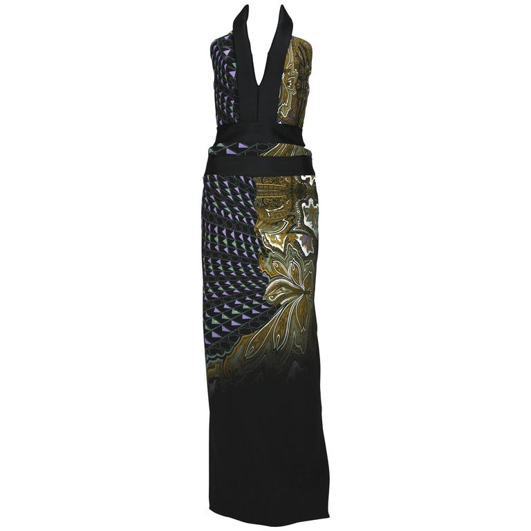 New ETRO Runway Printed Side Cutout Open Back Gown 40 - 4