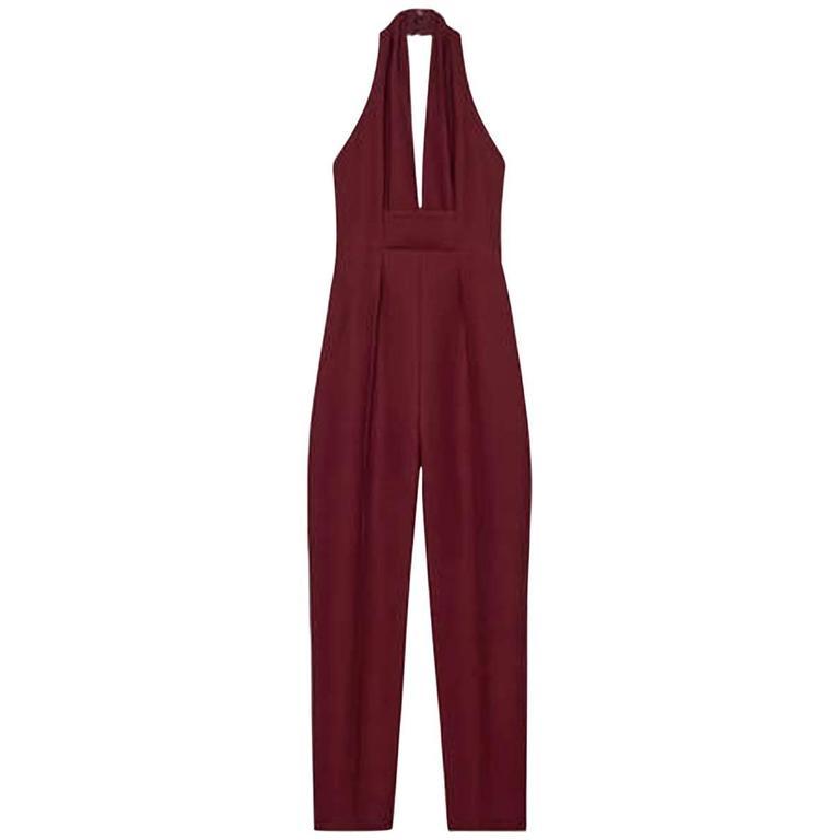 New Gucci Sexy Halterneck Silk Cady Burgundy Jumpsuit 1