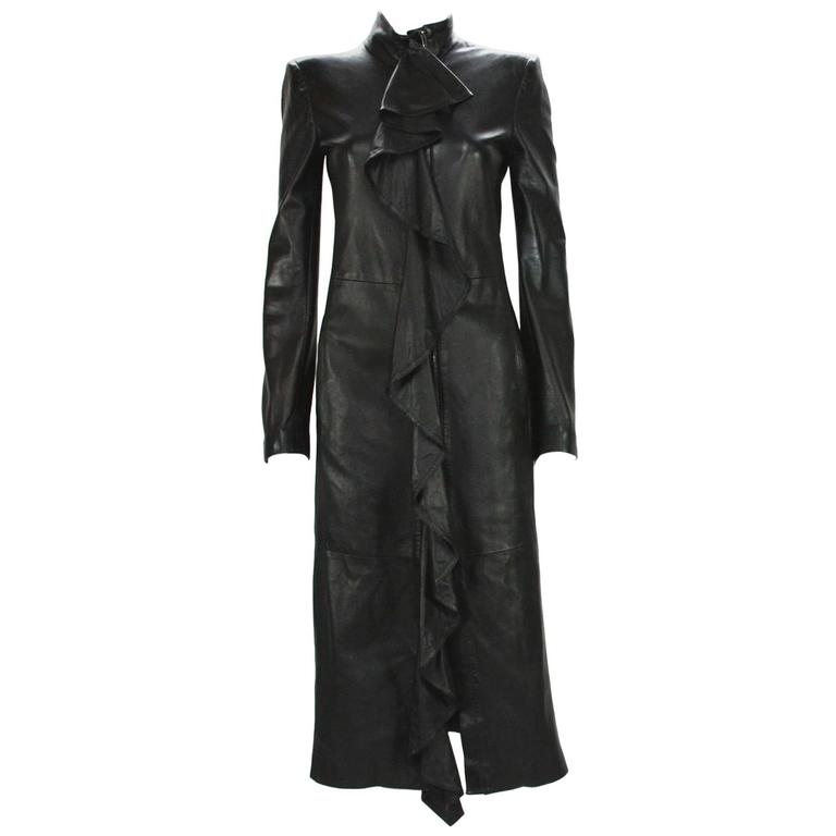 TOM FORD for YVES SAINT LAURENT F/W 2003 Black Leather Ruffle Coat Fr.36 US 4