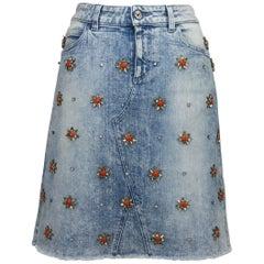 GUCCI Crystal-Embellished Stretch Denim Skirt Recreated After 1999 size 40 - 4