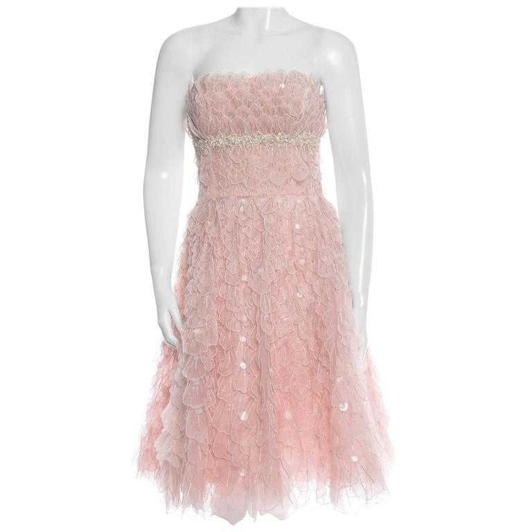 New OSCAR DE LA RENTA Bead Embellished Corset Pale Pink Silk Flare Dress  For Sale
