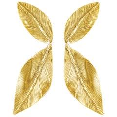 Cheyenne Gold-Plated Bronze Leaf Earrings