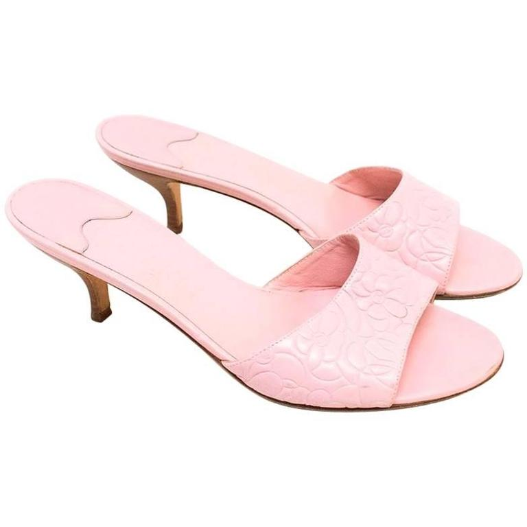 Chanel Pink Embossed Leather Open Toed Sandals  For Sale