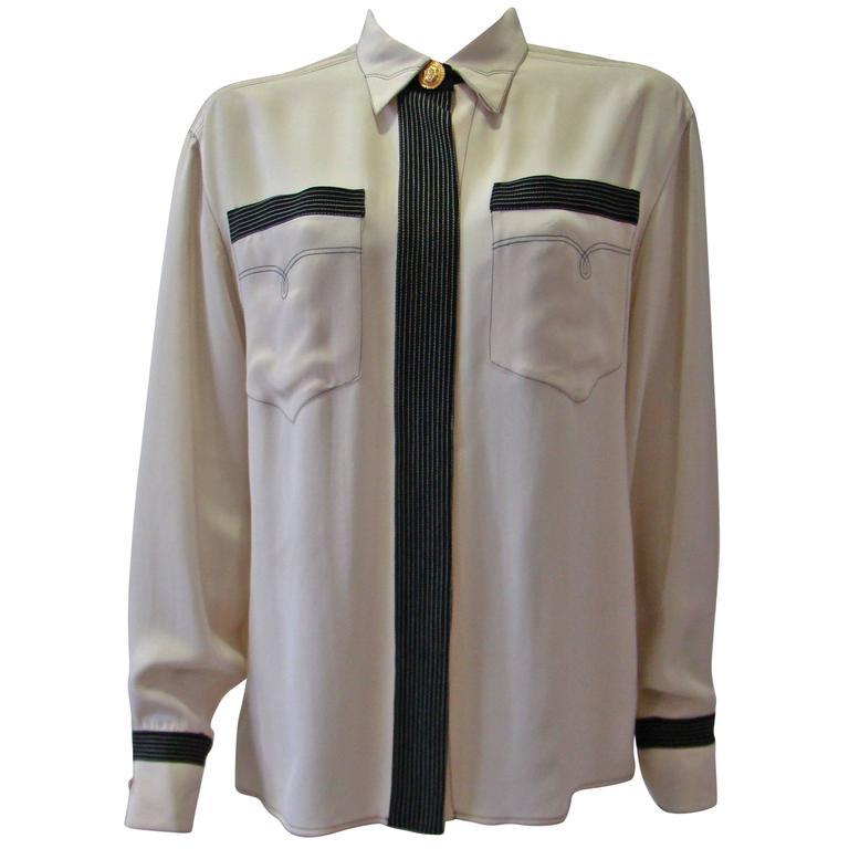 Gianni Versace Couture Creme Silk Shirt