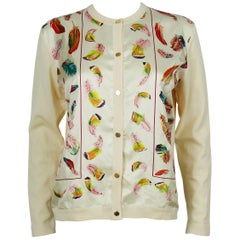 Hermès Vintage Feather Print Silk and Wool Cardigan Sweater
