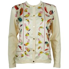 Hermès Vintage Feather Print Silk and Wool Cardigan Sweater