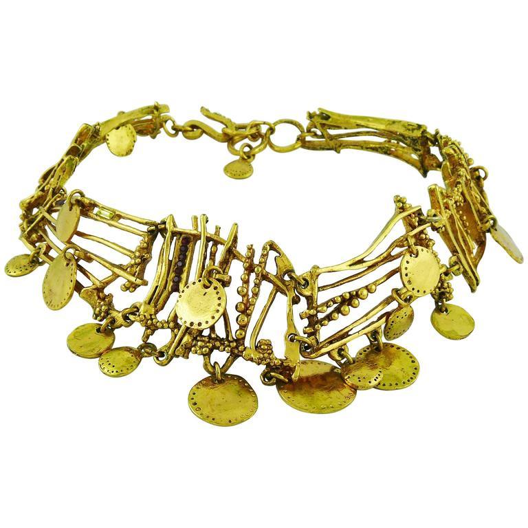 christian lacroix vintage gold toned gipsy necklace for sale at 1stdibs. Black Bedroom Furniture Sets. Home Design Ideas