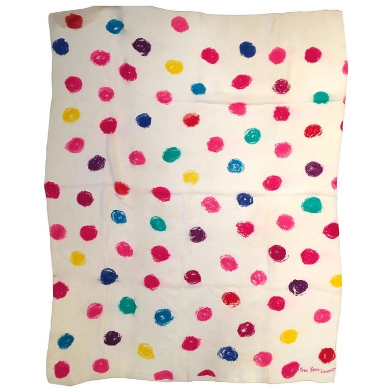 Rare Yves Saint Laurent Scarf - Abstract Spot Design - Silk Muslin