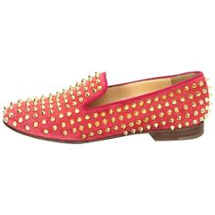 Christian Louboutin Coral Suede and Goldtone Rolling Spike Loafers sz 37.5
