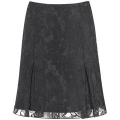 CHANEL A/W 2006 Black Floral Lace Box Pleated Skirt